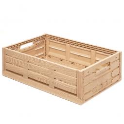 Klappbox im Holzdekor, geschlitzt, PP, LxBxH 600 x 400 x 190 mm, 38 Liter, beige