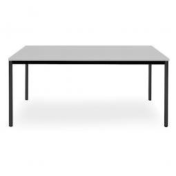 Rechtecktisch, Platte lichtgrau, Gestell schwarz, BxTxH 1600 x 800 x 720 mm