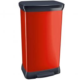 Tret-Abfalleimer, 50 Liter, HxBxT 730x390x290 mm, Polypropylen-Kunststoff, Deckel schwarz, Korpus metallic-rot