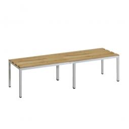Sitzbank, BxTxH 1200 x 390 x 410 mm, Gestell RAL 7035 lichtgrau, Sitzfläche aus Naturholz