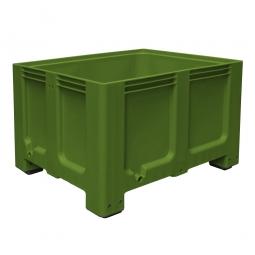 Großbox / Großbehälter mit 4 Füßen, 610 Liter, LxBxH 1200 x 1000 x 760 mm, Boden/Wände geschlossen, grün