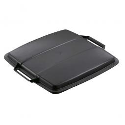 Deckel für Abfall- und Wertstoffbehälter 90 Liter, mit Griffen für leichtes Abnehmen, eckig, schwarz