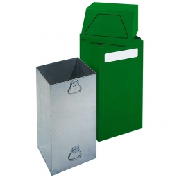 Wertstoffsammler, stationär, Inhalt 65 Liter, BxTxH 405x380x970 mm, grün