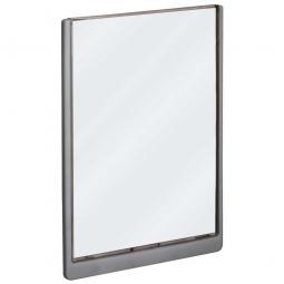 Türschild aus ABS-Kunststoff mit aufklappbarem Sichtfenster, BxH 210 x 297 mm, graphit
