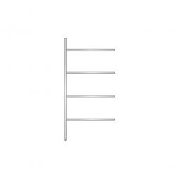 Aluminium-Anbauregal mit 4 geschlossenen Regalböden, Stecksystem, BxTxH 975 x 400 x 2000 mm, Nutztiefe 340 mm