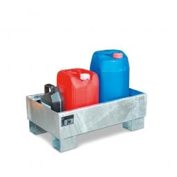 Auffangwanne für 60 Liter Fässer ohne Gitterrost, LxBxH 800 x 500 x 290 mm, Volumen: 65 Liter, verzinkt