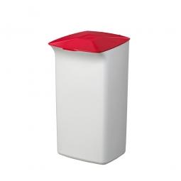 Abfall- und Wertstoffsammler mit Schanierdeckel, HxBxT 640x366x320 mm, 40 Liter, weiß/rot