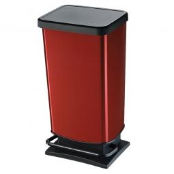 Tretabfalleimer, 40 Liter, BxTxH 295 x 353 x 676 mm, Deckel mit Absenkautomatik, Korpus rot metallic