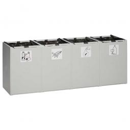 Abfall- und Wertstoff-Trennsystem, HxBxT 570 x 1410 x 405 mm, 60 Liter, 4-fach, lichtgrau