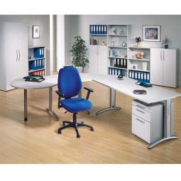 """6-teilige Schreibtischkombination """"Economy"""" mit Rollcontainer und Komfort-Drehstuhl mit Armlehnen"""