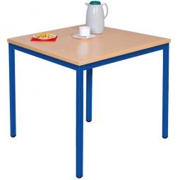 Kantinentisch Buche, BxTxH 800 x 800 x 750 mm, Gestell blau, Tischplatte 25 mm stark
