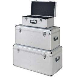 Alurahmen-Transportboxen, 3er-Set, Farbe silber, abklappbare Tragegriffe, abschließbar