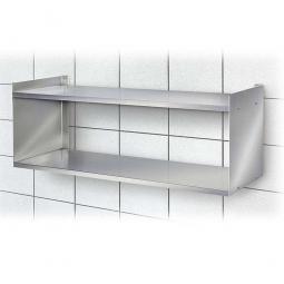 Edelstahl-Wandregal mit 2 Böden, BxTxH 1000 x 250 x 360 mm, Tragkraft 15 kg / Boden