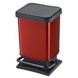 Tretabfalleimer, 20 Liter, BxTxH 266 x 293 x 457 mm, Deckel mit Absenkautomatik, Korpus rot metallic