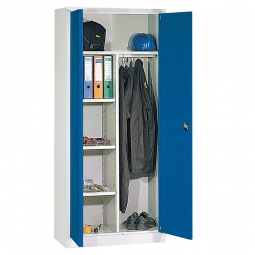 Universalschrank, HxBxT 1950x925x420 mm, Korpus lichtgrau, Türen enzianblau