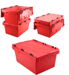 5x Universal Klappdeckelboxen, verplompbar, LxBxH 600 x 400 x 200 mm, 29 Liter, rot