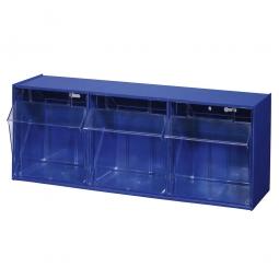 """Kleinteilemagazin """"Blue"""" mit 3 Klarsichtboxen, Set 5, BxHxT 600 x 240 x 200 mm, Behälter je BxHxT 176 x 161 x 149 mm"""