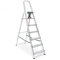 Alu-Bügelleiter mit 6 Stufen, Standhöhe 1210 mm, Arbeitshöhe bis 3210 mm, Gewicht 5,0 kg