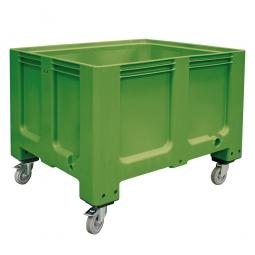 Großbox / Großbehälter mit 4 Lenkrollen und 2 Feststellbremsen, 610 Liter, LxBxH 1200x1000x915 mm, Boden/Wände geschlossen, grün