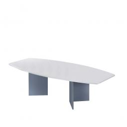 Konferenztisch mit Holzfußgestell, silber, Platte grau, BxTxH 2800x1300/780x740 mm