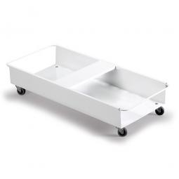 Doppel-Fahrwagen für Abfall- und Wertstoffbehälter, LxBxH 540 x 480 x 180 mm, aus weißlackiertem Metall