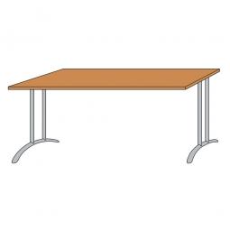 Schreibtisch mit Bogenformgestell, weißaluminium, Platte Buche, BxTxH 800x800x720 mm