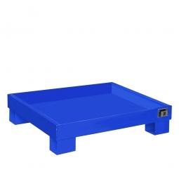 Auffangwanne für 60 Liter Fässer ohne Gitterrost, LxBxH 900 x 800 x 220 mm, Volumen: 68 Liter, blau RAL 5012