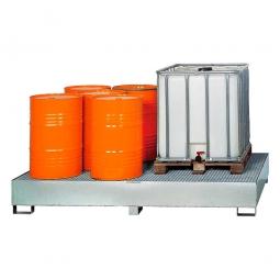 Auffangwannne für Tankcontainer, feuerverzinkt, BxTxH 2650x1300x435 mm, Unterfahrhöhe 100 mm