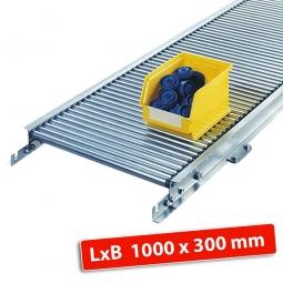 Klein-Rollenbahn, LxB 1000 x 340 mm, Bahnbreite: 300 mm, Achsabstand: 50 mm, Tragrollen Ø 30 x 1,0 mm