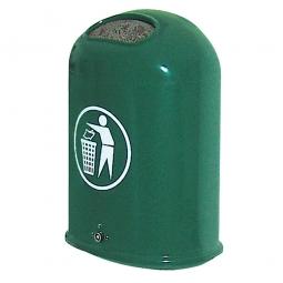 Feuerverzinkter Abfallbehälter mit Bodenklappe, 45 Liter, dunkelgrün, BxTxH 430x330x600 mm