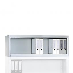 Aufsatzregal, 1 Ordnerhöhe, BxTxH 1200 x 400 x 500 mm, lichtgrau