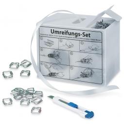 Umreifungs-Set in der Spenderbox, mit 1 Rolle Polyesterband 200 m lang und 16 mm breit