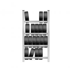 Reifenregal mit 4 Reifenebenen, verzinkt, Stecksystem, BxTxH 1280 x 425 x 2500 mm