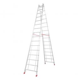 Alu-Sprossen-Doppelleiter mit 2x 16 Sprossen, Leiterhöhe 4480 mm, max. Arbeitshöhe 6150 mm