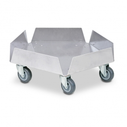 Aluminium-Tonnenroller mit Edelstahl-Lenkrollen, und 5 Rädern Ø 75 mm mit grauer Polyurethanlauffläche