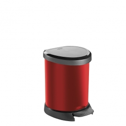 Tret-Abfalleimer, 5 Liter, HxBxT 227x246x210 mm, Polypropylen-Kunststoff, Deckel schwarz, Korpus metallic-rot