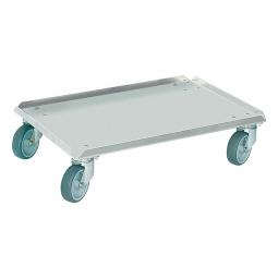 Edelstahl-Transportroller für 600 x 400 mm Behälter, graue Gummiräder, Deck geschlossen, Tragkraft 250 kg