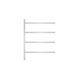 Aluminium-Anbauregal mit 4 geschlossenen Regalböden, Stecksystem, BxTxH 1375 x 400 x 1800 mm, Nutztiefe 340 mm