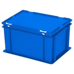 Eurobehälter mit Scharnierdeckel, LxBxH 400 x 300 x 230 mm, 21 Liter, blau