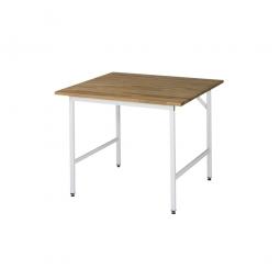 Arbeitstisch mit Massivbuche-Tischplatte, BxTxH 1000x1000x800-850 mm, Gestell lichtgrau RAL 7035