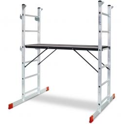 Alu-Leitergerüst, belastbar bis 135 kg, Arbeitshöhe bis 3 m, Plattform BxTxH 1200 x 410 x 955 mm