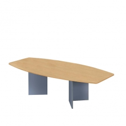 Konferenztisch mit Holzfußgestell, silber, Platte Buche, BxTxH 2800x1300/780x740 mm