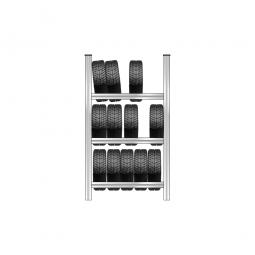 Reifenregal mit 3 Reifenebenen, verzinkt, Stecksystem, BxTxH 1130 x 425 x 2000 mm