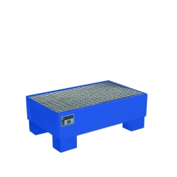 Auffangwanne für 60 Liter Fässer mit Gitterrost, LxBxH 800 x 500 x 290 mm, Volumen: 61 Liter, blau RAL 5012