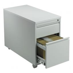 Rollcontainer mit 2 Schubkästen, BxTxH 460x790x620 mm, lichtgrau RAL 7035
