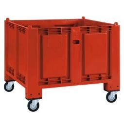 Palettenbox mit 4 Gummi-Lenkrollen Ø 120 mm, rot, 1200x800x1000 mm, Boden/Wände geschlossen
