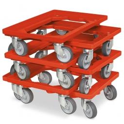 6x Transportroller im Spar-Set, Farbe rot, für Kästen, Körbe, Kartons 600 x 400 mm