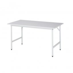 Arbeitstisch mit Melaminharz-Tischplatte, BxTxH 1500x800x800-850 mm, Gestell lichtgrau RAL 7035