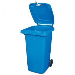 Müllbehälter mit Dreikantschlüssel verschließbar, BxTxH 480 x 550 x 930 mm, 120 Liter, blau