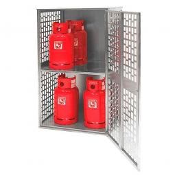 Gasflaschen-Schrank, Ausführung mit Belüftung, LxBxH 840x690x1475 mm, für 10 Gasflaschen á 11 kg